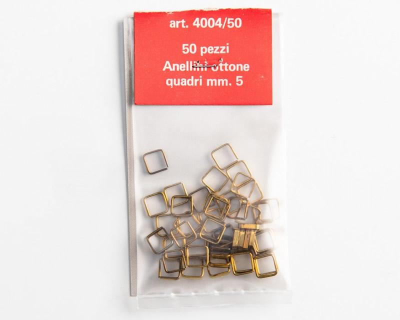 50 pz modellismo Amati AM4004-50 Anellini quadri in ottone 5 mm