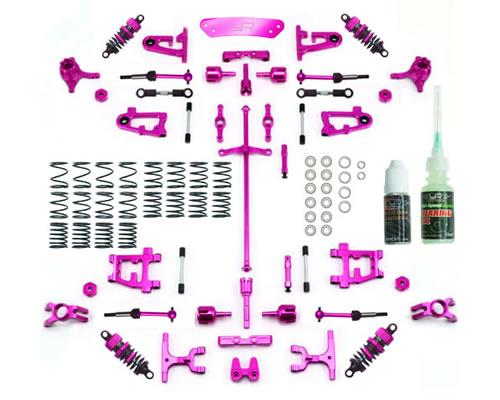 Kit conversione in alluminio Ultimate Version Tamiya TT-01 / TT-01E Fucsia yeahracing CK-TT01-EV2P