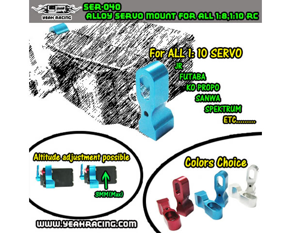Colonnine in alluminio per supporto servo 1:8/1:10 Silver yeahracing SER-040SV